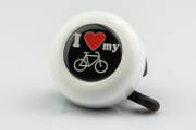 Motive-Bell 'I love my bike', 55mm, with Rotary-Action, white